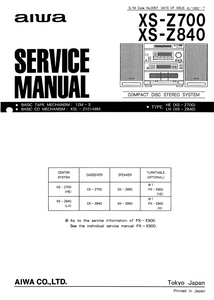 AIWA XS-Z700 Compact Disc Service Manual