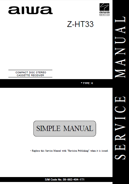 AIWA Z-HT33 K Simple CD Stereo Cassette Receiver Service Manual