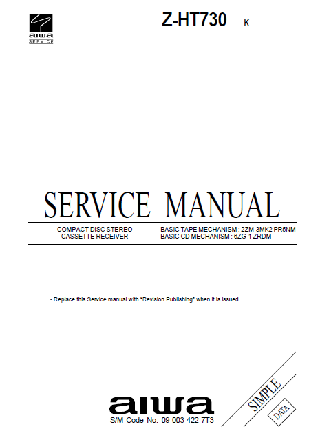 AIWA Z-HT730 K Simple CD Stereo Cassette Receiver Service Manual