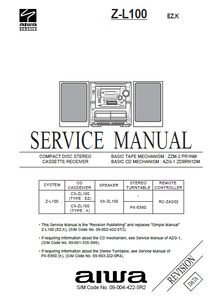 AIWA Z-L100  Revision CD Stereo Cassette Receiver Service Manual
