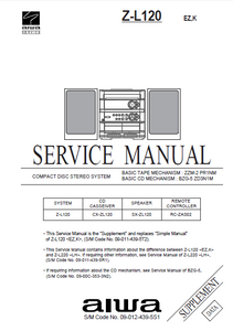 AIWA Z-L120 Supplement CD Stereo System Service Manual