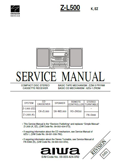 AIWA Z-L500 Revision CD Stereo Cassette Receiver Service Manual