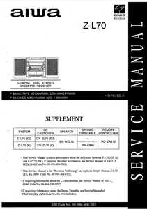 AIWA Z-L70 Supplement CD Stereo Cassette Receiver Service Manual