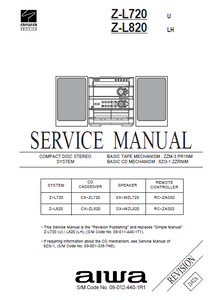 AIWA Z-L720 Revision CD Stereo Cassette Receiver Service Manual