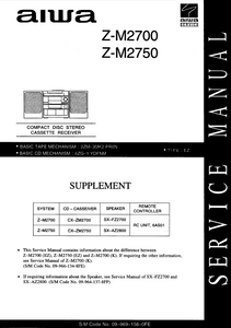 AIWA Z-M2700 Supplement CD Stereo Cassette Receiver Service Manual