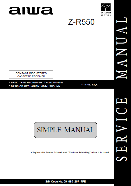 AIWA Z-R550 Simple CD Stereo Cassette Receiver Service Manual