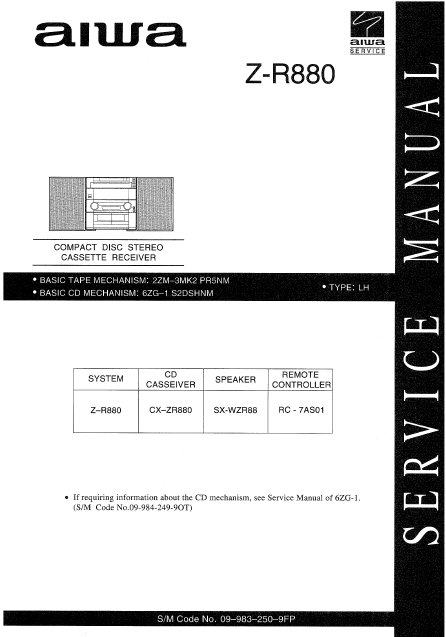AIWA Z-R880 CD Stereo Cassette Receiver Service Manual