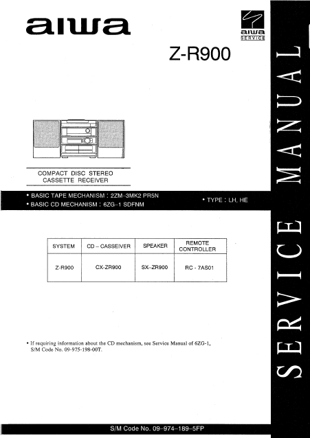 AIWA Z-R900 CD Stereo Cassette Receiver Service Manual