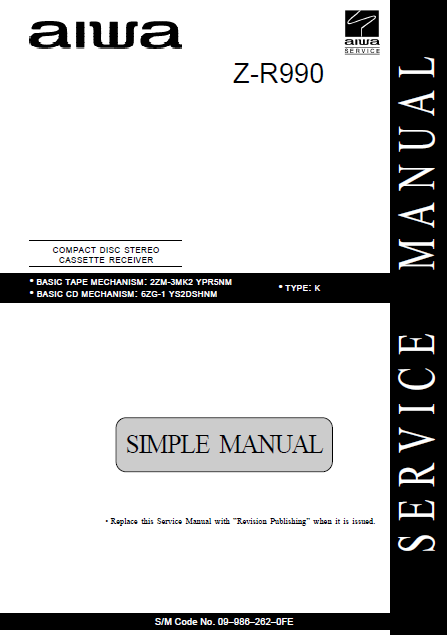 AIWA Z-R990 Simple CD Stereo Cassette Receiver Service Manual