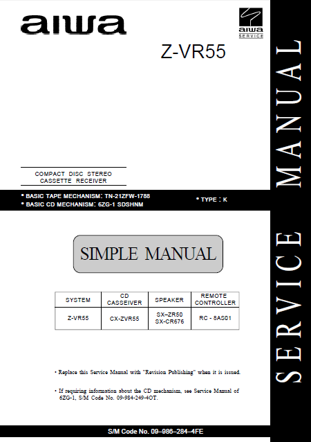AIWA Z-VR55 K Simple CD Stereo Cassette Receiver Service Manual