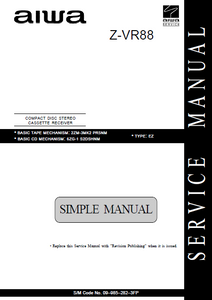 AIWA Z-VR88 EZ Simple CD Stereo Cassette Receiver Service Manual