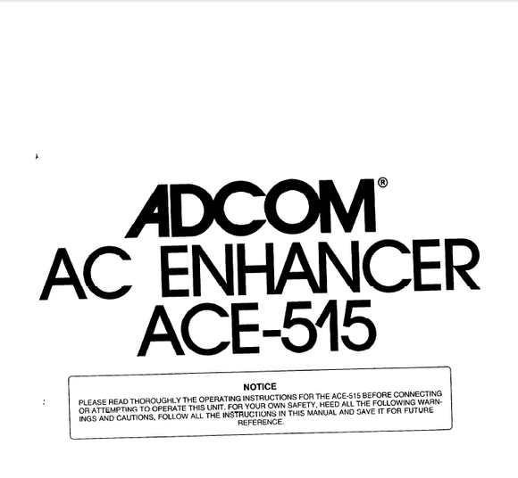ADCOM ACE515 Enhancer Operation Manual