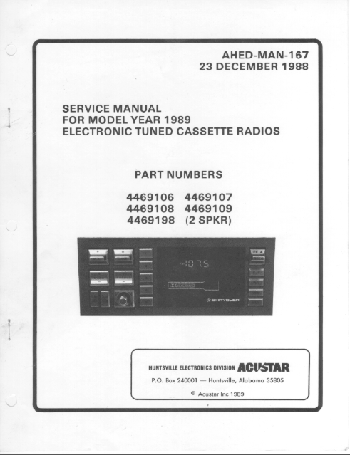 BOSE Model Year 1989 Cassette Radios Service Manual