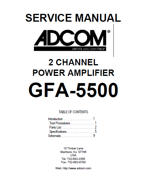 ADCOM GFA-5500 2Channel Power Amp Service Manual