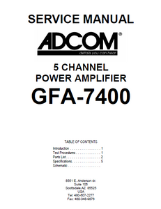 ADCOM GFA-7400 5Channel Power Amp Service Manual