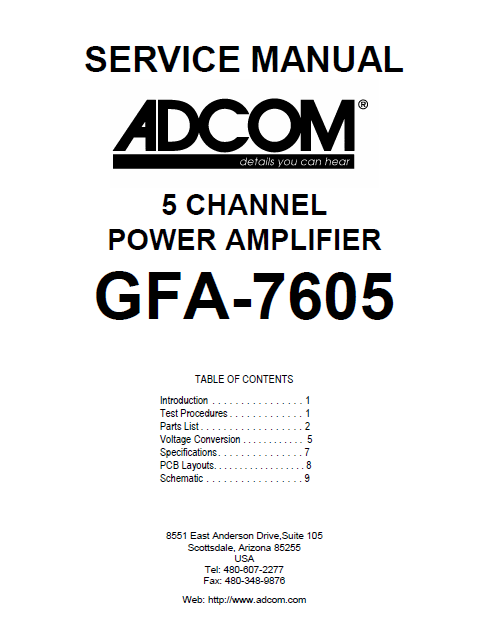 ADCOM GFA-7605 5Channel Power Amp Service Manual
