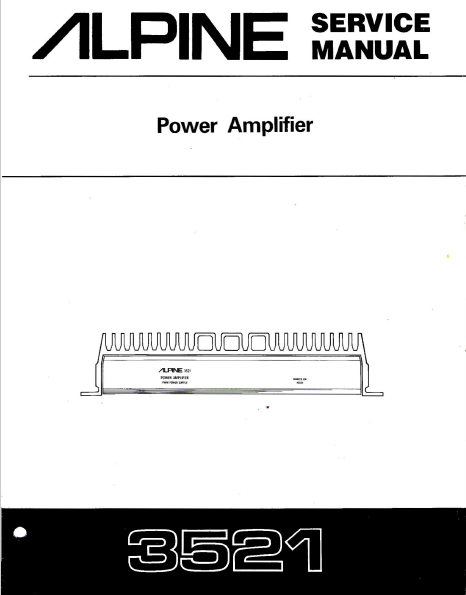 Alpine 3521 Power Amplifier Service Manual