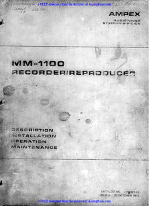 AMPEX MM-1100 Recorder Reproducer Service Manual
