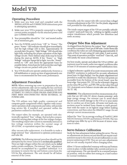 AUDIO RESEARCH V70 Bias Adjustment Instruction Manual