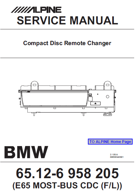 ALPINE E-65 Compact Disc Remote Changer Service Manual