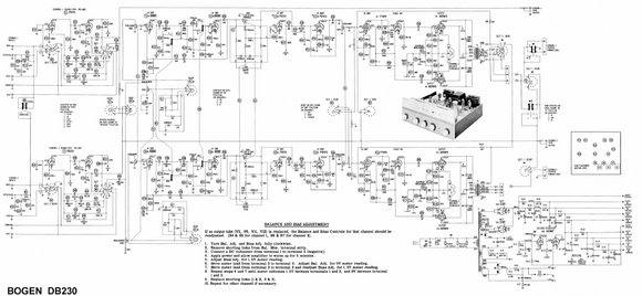 BOGEN DB-230 Balance and Bias Adjustment Schematic