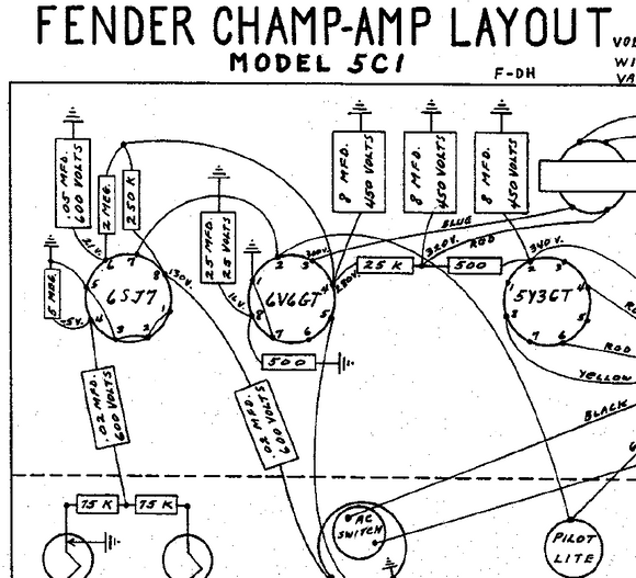 Fender Champ 5C1 Layout