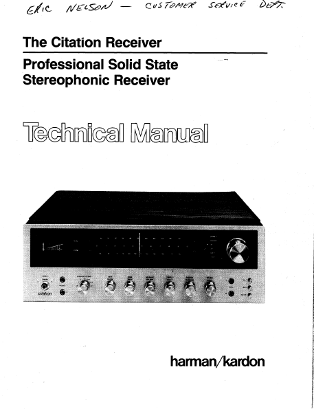 Harman Kardon Citation Receiver Professional Solid State Technical Service Manual