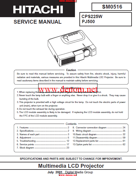 HITACHI CPS225W Multimedia LCD Projector Service Manual