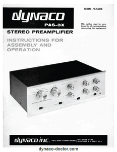 Dynaco PAS-3x Preamplifier Operations Manual