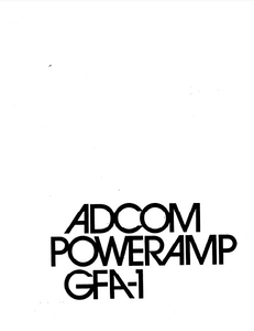 ADCOM GFA-1 Owner's Manual