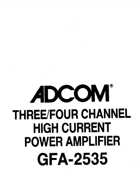 ADCOM GFA-2535 Power Amplifier Owner's Manual