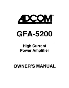 ADCOM Power Amplifier GFA-5200 Owner's Manual