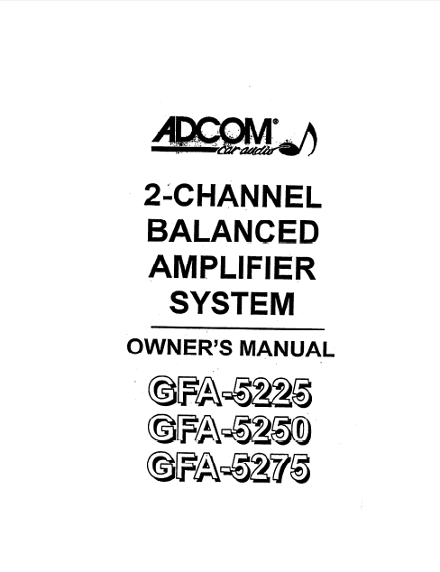 ADCOM GFA-5225 Amplifier Owner's Manual