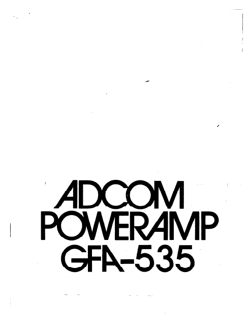 ADCOM GFA-535 Power Amplifier Owner's Manual