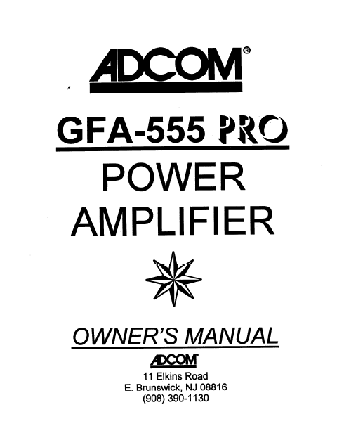 ADCOM GFA-555 Pro Power Amplifier Owner's Manual