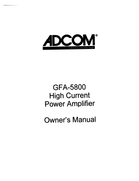 ADCOM GFA-5800 Power Amplifier Owner's Manual