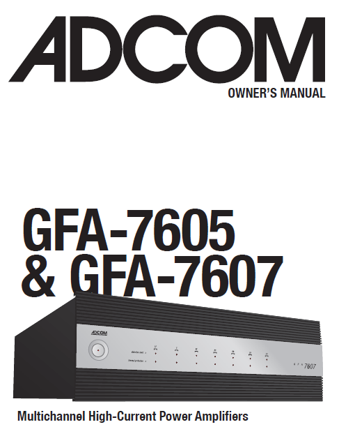 ADCOM GFA-7605 Power Amplifier Owner's Manual