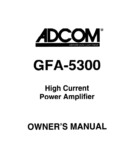 ADCOM GFA-5300 Power Amp Owner's Manual