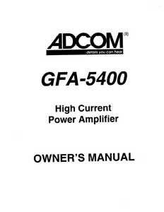 ADCOM GFA-5400 Power Amp Owner's Manual