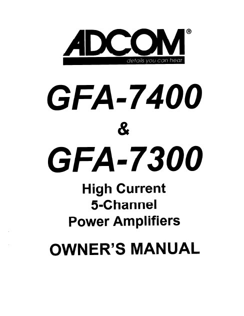 ADCOM GFA 7400-7300 Power Amp Owner's Manual