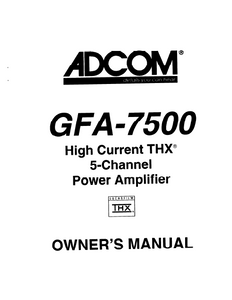 ADCOM GFA-7500 Power Amp Owner's Manual