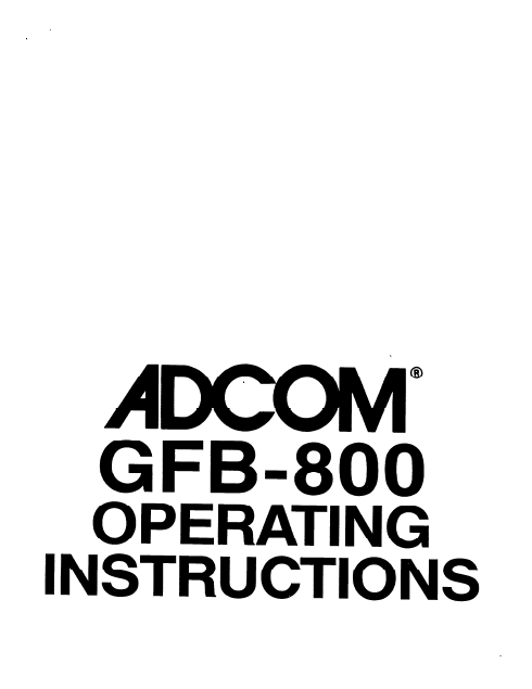 ADCOM GFB-800 Operating Instructions Manual