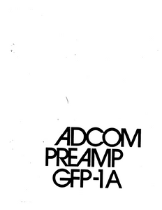ADCOM GFP-1A PreAmp Owner's Manual