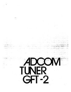 ADCOM GFT-2 Tuner Owner's Manual