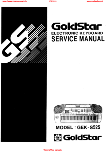 GoldStar Model GEK-S525 Electronic Keyboard Service Manual