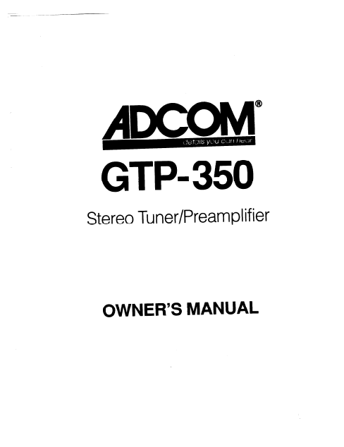 ADCOM GTP-350 Stereo Tuner PreAmp Owner's Manual