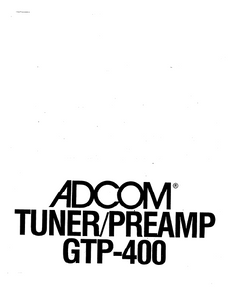 ADCOM GTP-400 Tuner PreAmp Owner's Manual