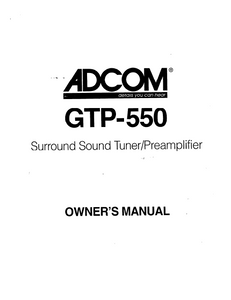 ADCOM GTP-550 Tuner PreAmp Owner's Manual