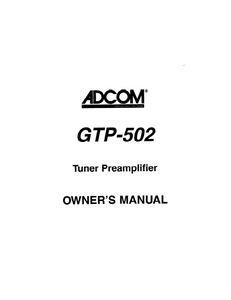 ADCOM GTP-502 Tuner PreAmp Owner's Manual