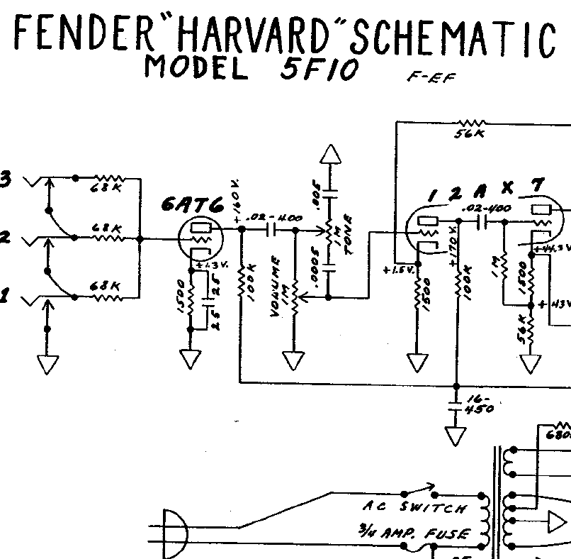 Fender Harvard 5F10 Schematics
